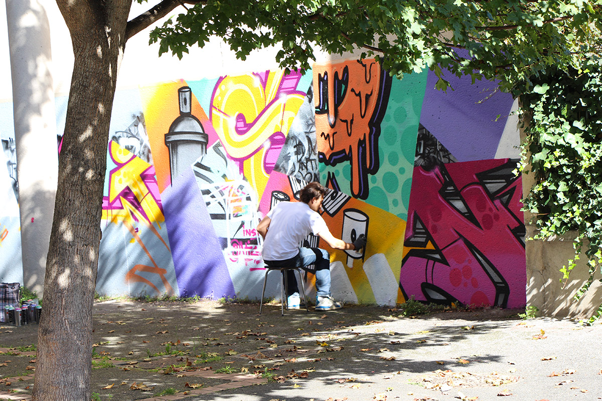 sharkgraphic Aurélien Maillet Paris Montreuil street art work in progress